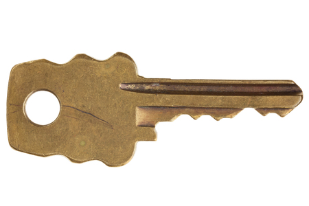 Old key, isolated, great sharpness