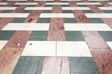 Marble floor of different colors, antique architectural detail Stok Fotoğraf