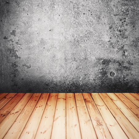 Concrete texture with wooden floor