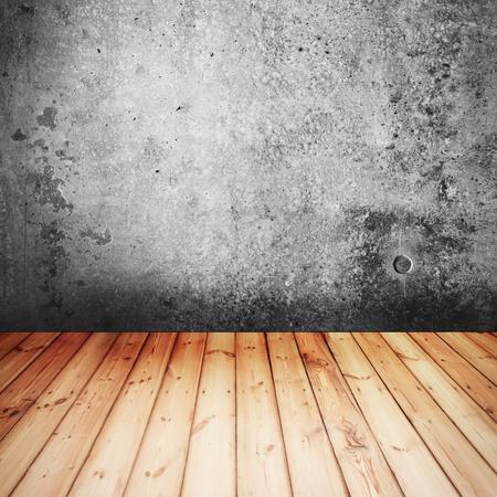 Concrete texture with wooden floor