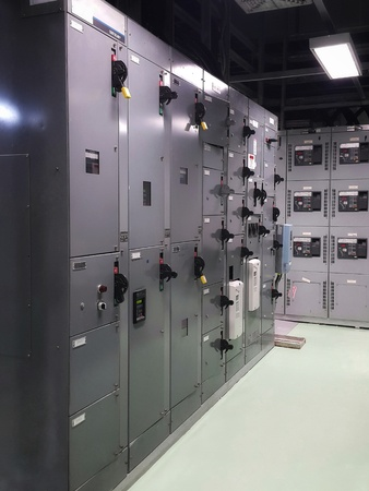 Electrical part and accessories in the control cabinet , control and power distributor,lockout ,tagout Stock Photo - 88228657