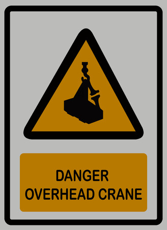 Danger overhead crane sign on white isolated background isolated on plain background.  イラスト・ベクター素材