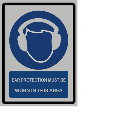 Ear protection must be worn in this area text with icon of man wearing head phone.
