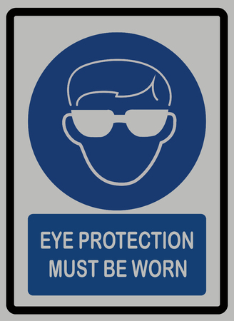 eye protection must be worn on white isolated bacground