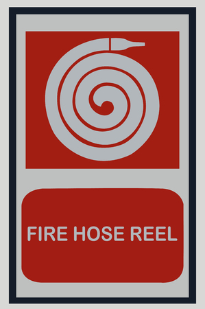 fire hose reel sign on white isolated background