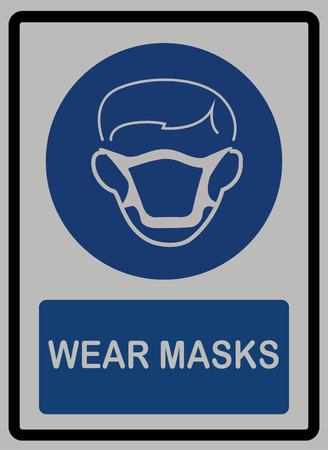 Wear mask sign on white isolated background