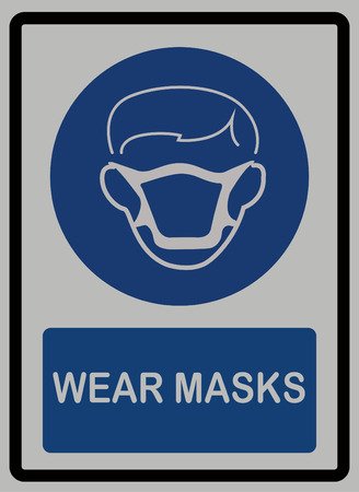 Wear mask sign on white isolated background