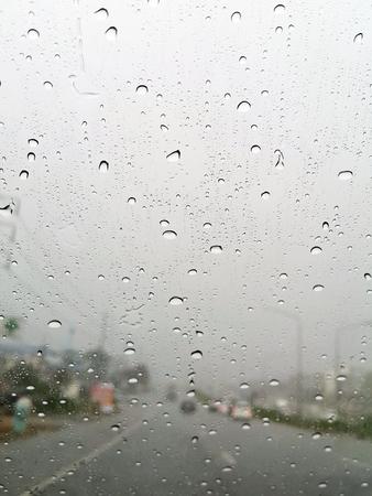 water drop on carglass in rainny day