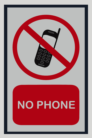 No mobile phone sign on white isolated background Stock Photo