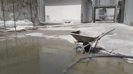 The cart is on the ground after being used in industrial areas 写真素材