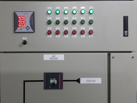 electrical part and accessories in the control cabinet , control and power distributor,lockout ,tagout Stock Photo