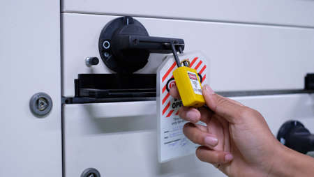 Lock out & Tag out, Lock out station, machine - specific Lock out devices , Lock out for electrical maintenance Stock Photo