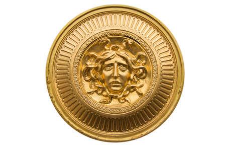 medusa: Medusa gold  shield Stock Photo