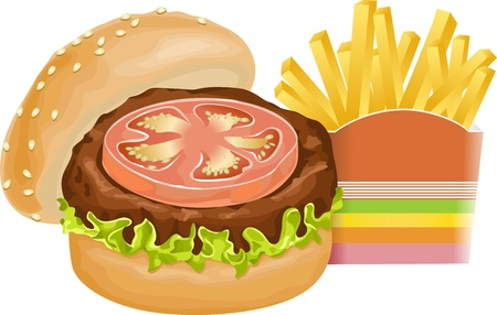 burger and fries: Burger and fries