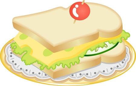 Tasty Cheese sandwich Vector
