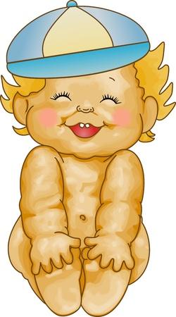 Baby Boy Smiling Vector