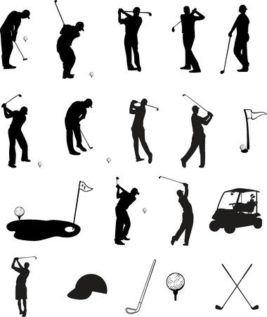 cartoon golf: Golf Silhouettes Illustration