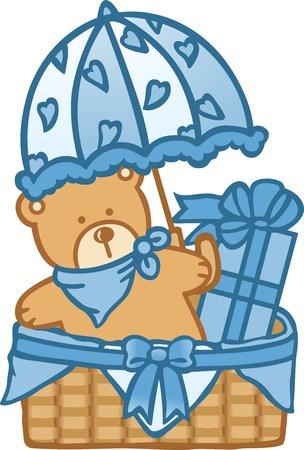 gift basket: Baby Basket Boy Illustration