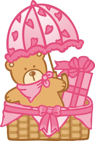 Baby Basket Girl Stock Vector - 12024253