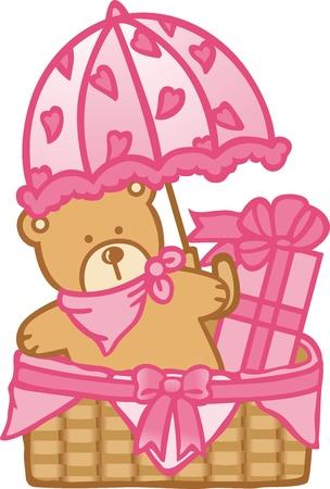 Baby Basket Girl Stock Vector - 12024253