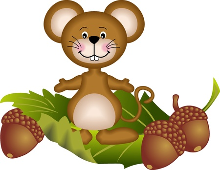 Mouse and acorn Vector