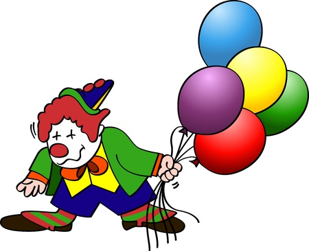 Clown with colorful balloons Vector