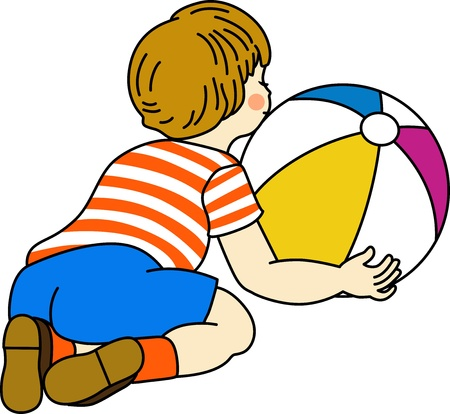 Boy playing with ball Vector