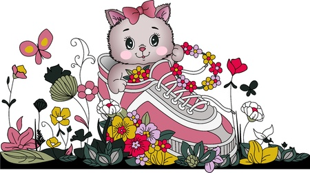 flowers cat: Kitten in tennis with flowers Illustration