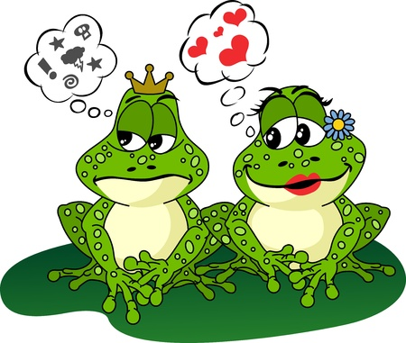 Frogs Love and Anger Vector