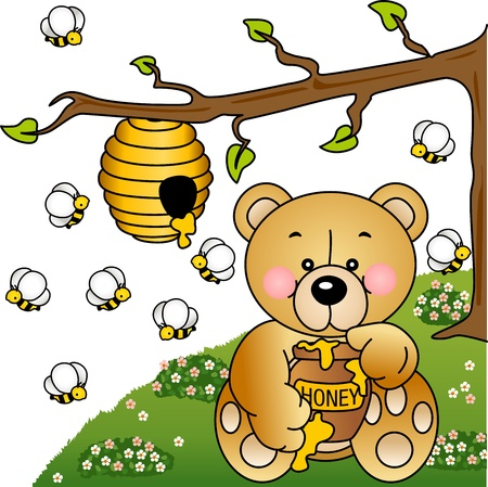 Greedy bear steals honey bees in the forest