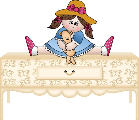 Girl hugging teddy bear on the chest of drawers Stock Vector - 12493778