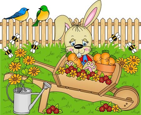 オープンエア: ウサギ庭のニンジンを収穫します。  イラスト・ベクター素材