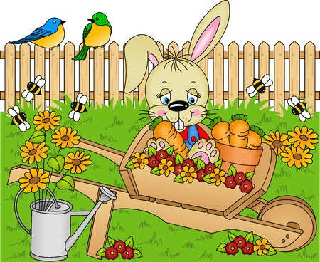 Rabbit harvest carrots in the garden Vector