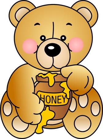 Bear eats Honey Stock Vector - 12493779