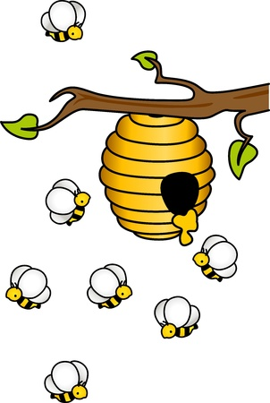 bee hive: Bees in the Hive Illustration