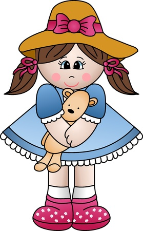Girl playing with teddy Vector