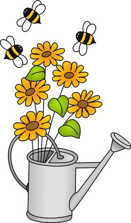 watering: Gieter met bloemen en bijen Stock Illustratie
