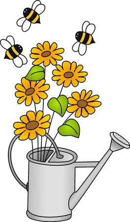 watering can: Watering can with flowers and bees