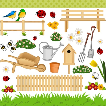 Garden digital collage Vector