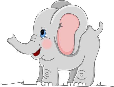 silhouettes elephants: Elefante beb� feliz Vectores