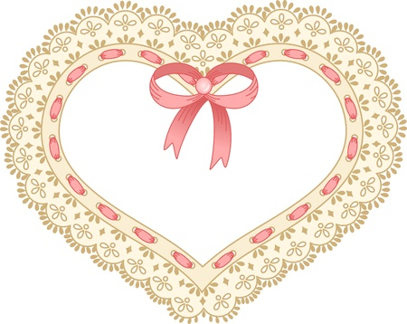Heart embroidered on tape lace Vector