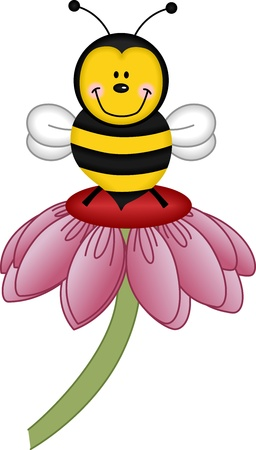 Bee visiting flower Illustration
