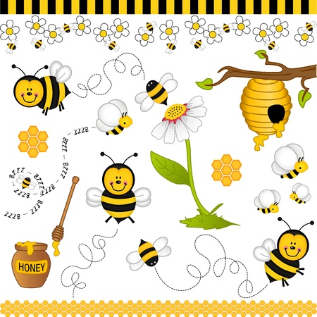 Bee digital collage Stock Vector - 12800188
