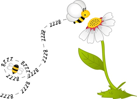Bee Bzzz Flower Vector