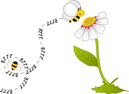 bee cartoon: Bee Bzzz Flower