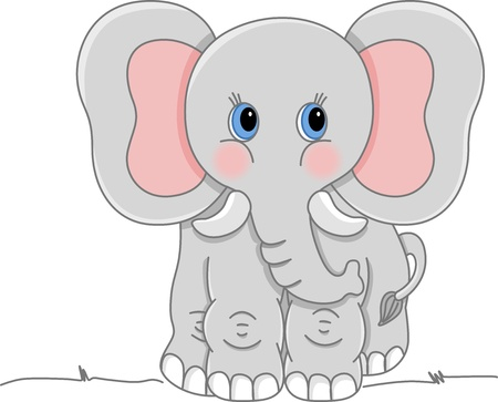 Gray Elephant Vector