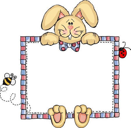 Label Frame Bunny Vector