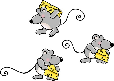 Mice Carrying Cheese Vector