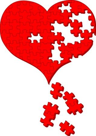 Heart Puzzle Vector