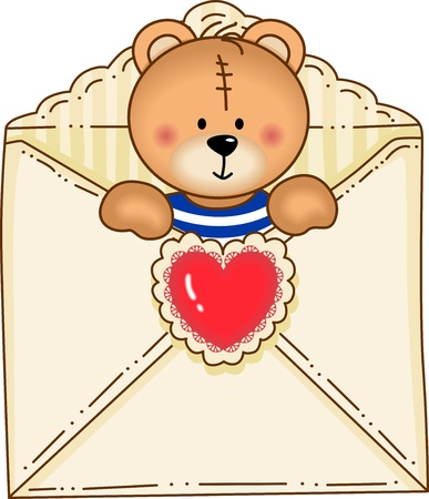 teddy bear love: Bear Inside Envelope